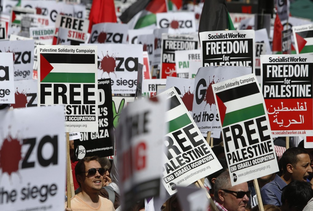 Demonstrators protest to support the people of Gaza, in central London