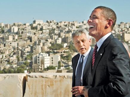 אובמה והייגל בביקור משותף בירושלים. נא בעין