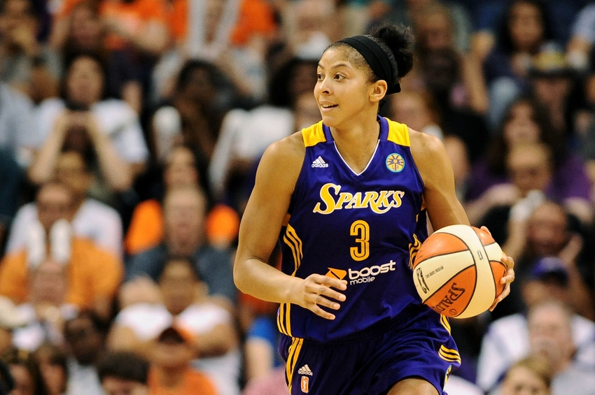 Sep 21, 2013; Phoenix, AZ, USA; Los Angeles Sparks forward Candace Parker (3) dribbles the ball up the court in the game against the Phoenix Mercury at US Airways Center. The Sparks defeated the Mercury 82-73. Mandatory Credit: Jennifer Stewart-USA TODAY Sports